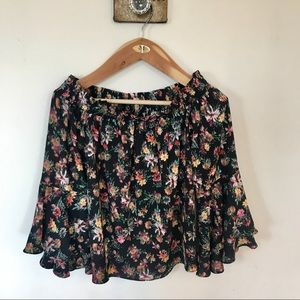 NEW black floral off the shoulder crop top